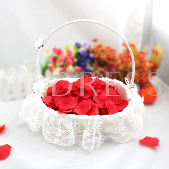 Bamboo Flower Basket With Lace