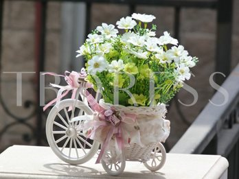 European Small Tricycle With White Flowers Table Centerpieces