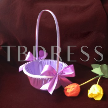 Pure Flower Basket With Bow