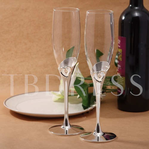 Metal Design Toasting Flutes(Set of 2)
