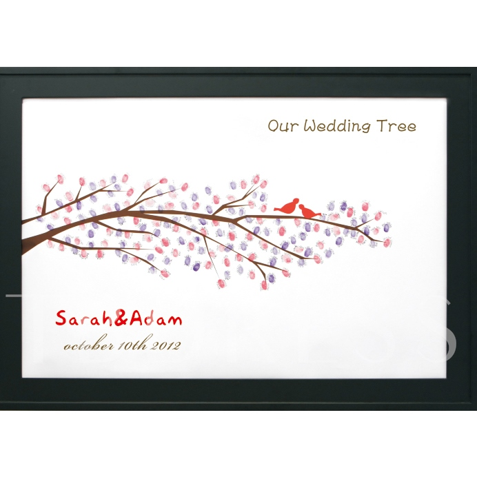 Wedding Tree Thumbprint Branch with Love Birds Guest Signature Frames