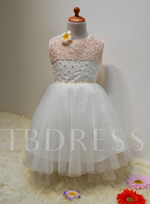 A-Line Jewel Sleeves Pearls Flower Girl Dress