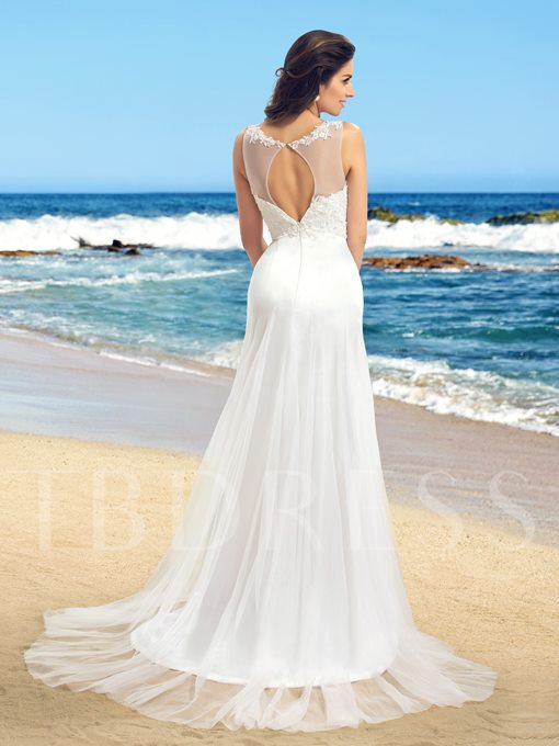 A-Line Scoop Tulle Applique Wedding Dress