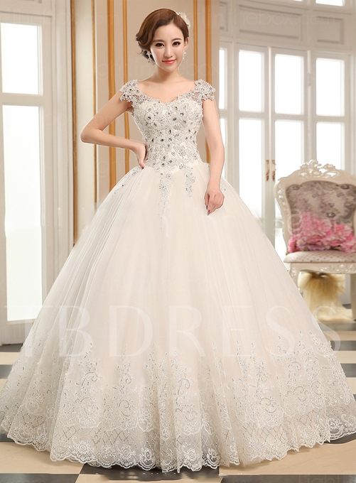 Appliques Beading Ball Gown Wedding Dress