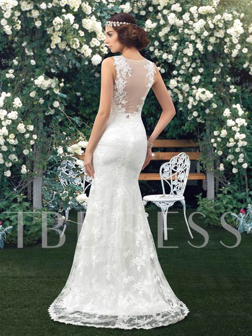 Mermaid/Trumpet Sweep/Brush Train Lace Beach Wedding Dress