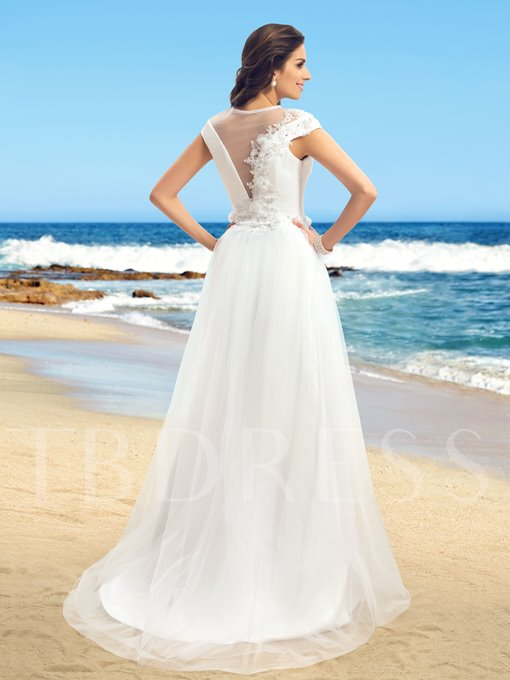 A-Line Jewel Cap Sleeves Applique Tulle Wedding Dress