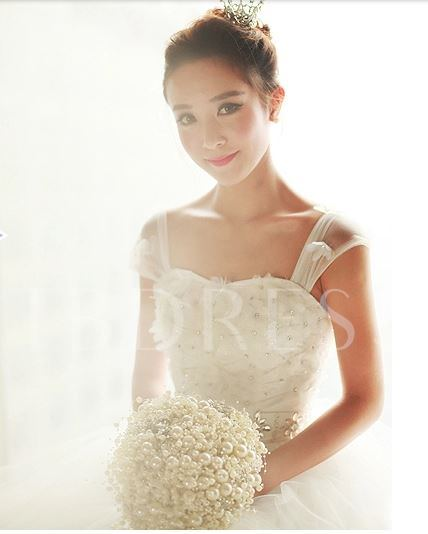 Straps Ball Gown Tiered Beaded Wedding Dress