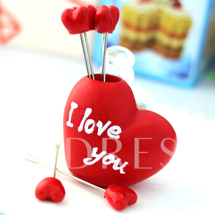 Personality Red Sweetheart Fruit Fork