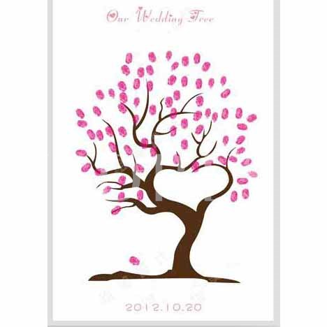 Heart Shaped Wedding Thumbprint Tree Guest Signature Frames