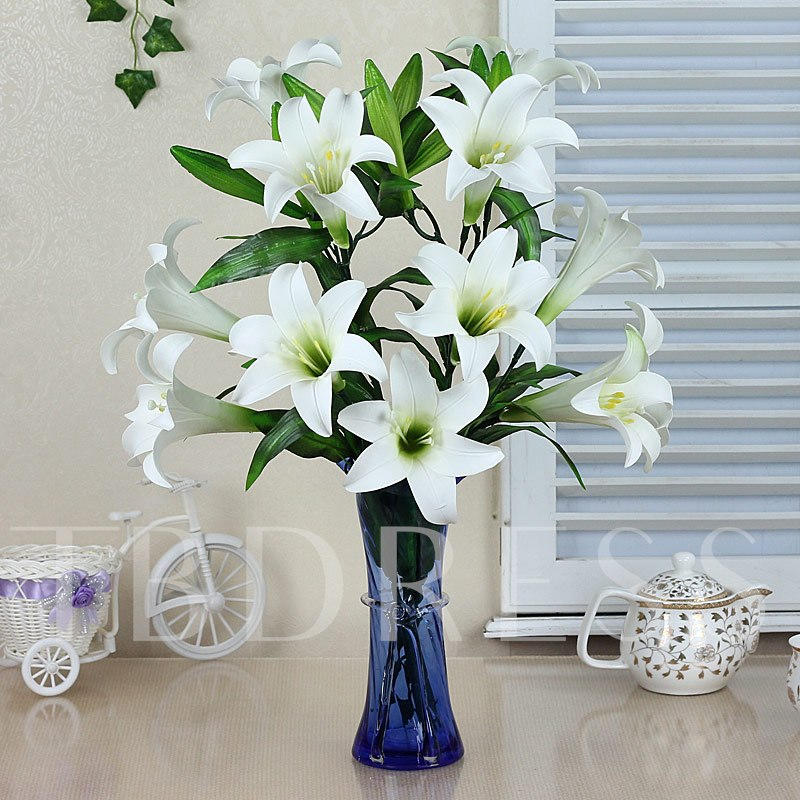 Simulation Flowers Set Series Desktop Decoration Potted White Greenish Lily Flower