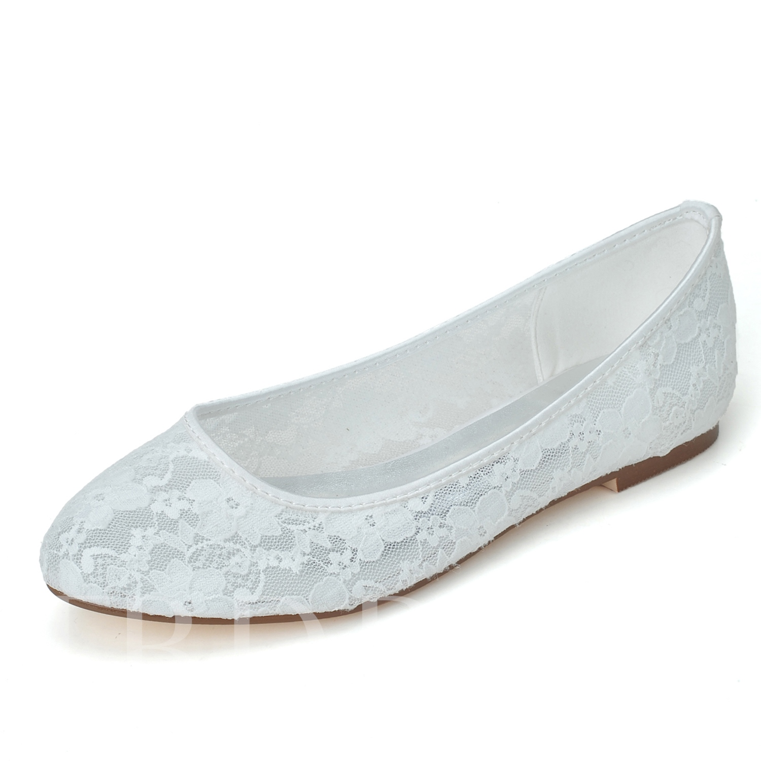 Comfortable Lace Flat Bottom Wedding Shoes