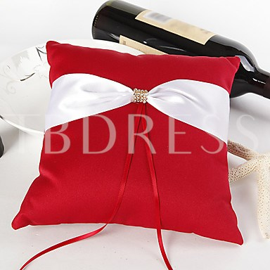 Ring Pillow in Satin With Sash&Rhinestones