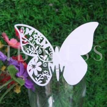 Butterfly Design Pearl Paper Place Cards Set Of 12
