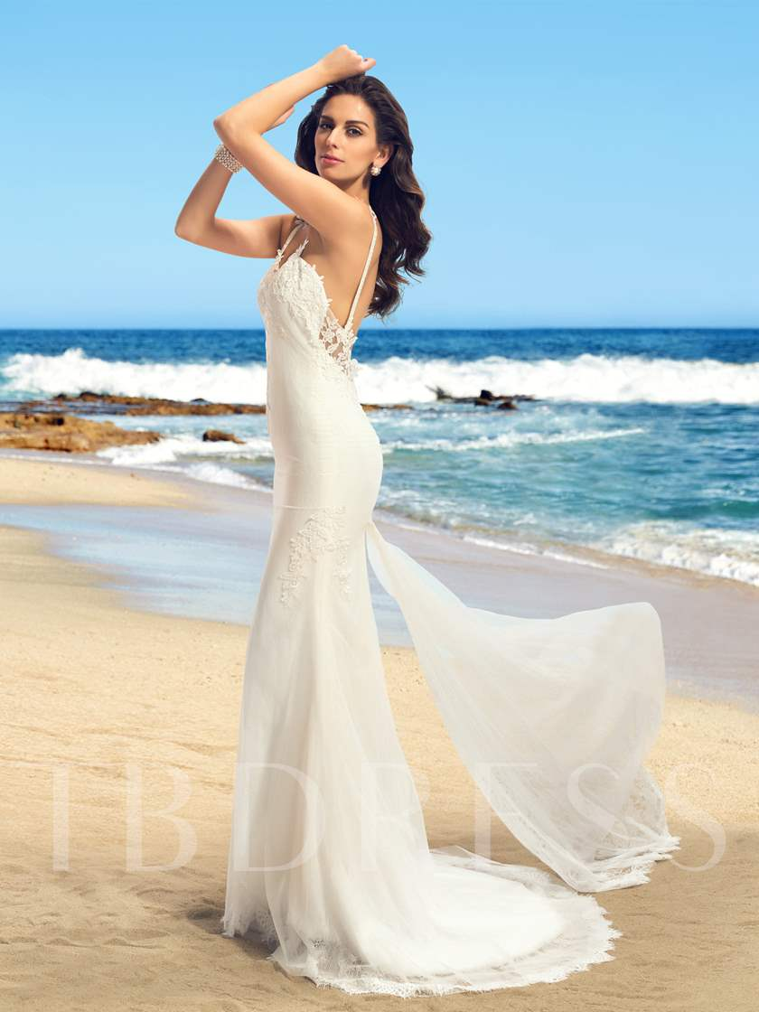 Spaghetti Straps Appliques Backless Long Wedding Dress