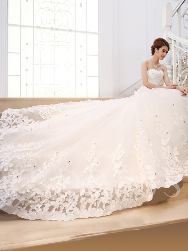 Beaded Appliques Cathedral Train Wedding Dress