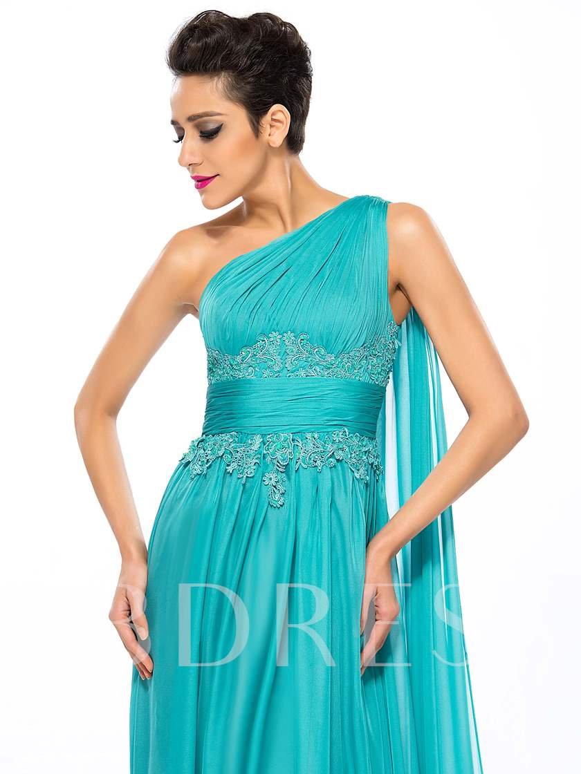 A-Line One-Shoulder Empire Ruched Evening Dress
