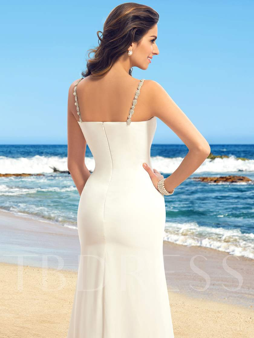 A-line Straps V-Neck Ruffles Floor-Length Wedding Dress