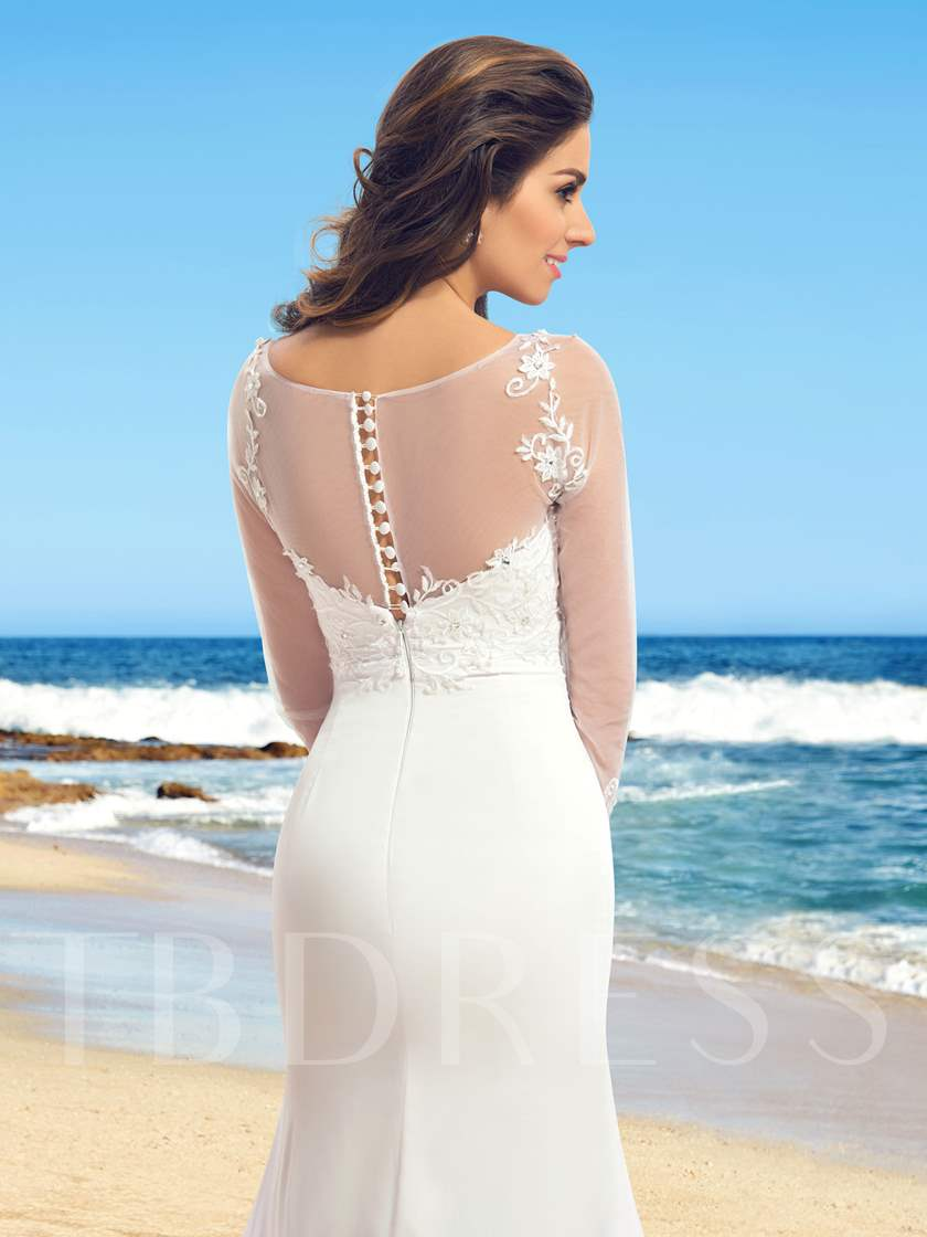 Bateau Neck Appliques Sleeves Sheath Wedding Dress