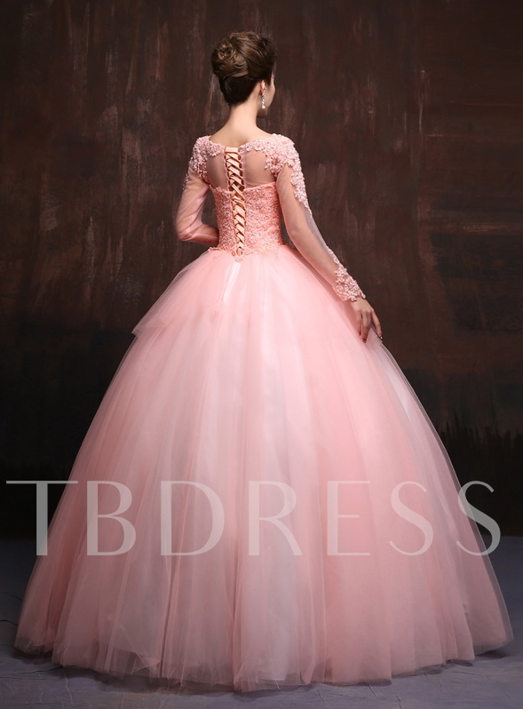 Bateau Neck A-line Lace Long Sleeves Floor-Length Quinceanera Dress