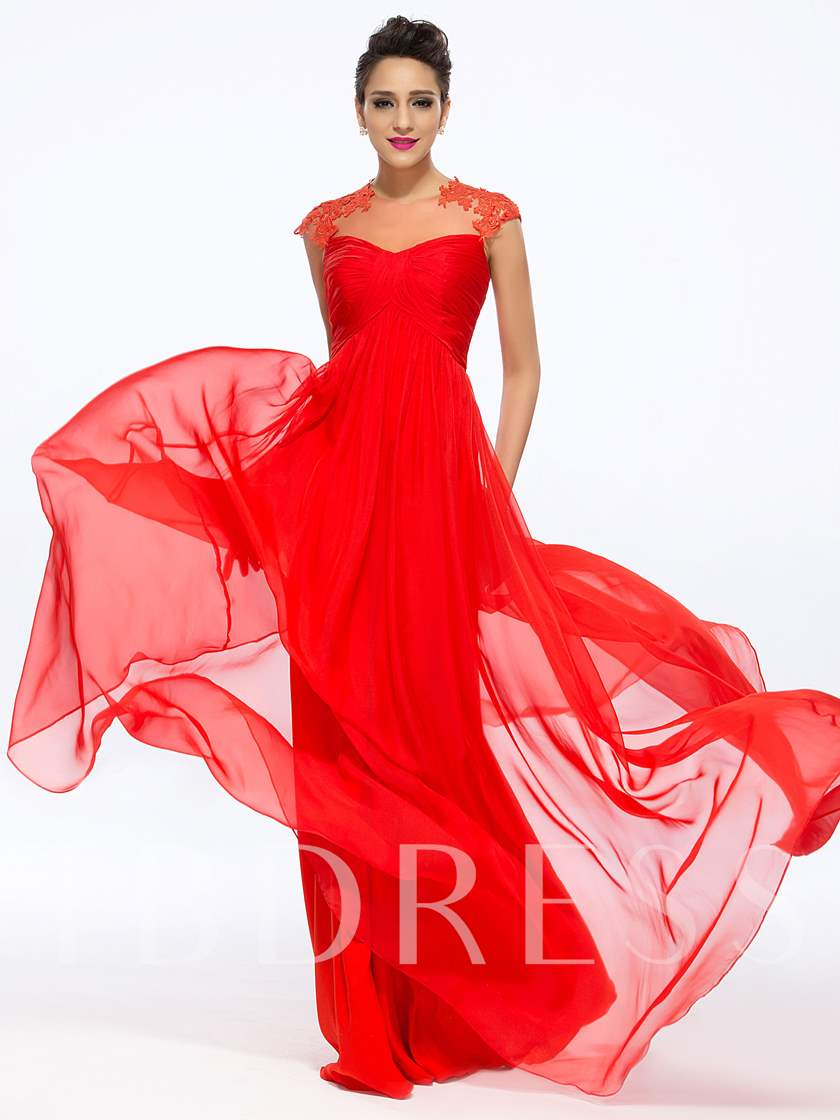 A-Line Beaded Jewel Neck Appliques Floor-Length Prom Dress