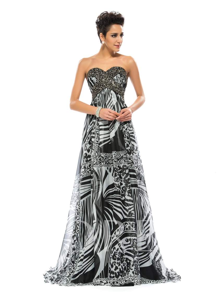 Sweetheart Beading A-Line Long Evening Dress