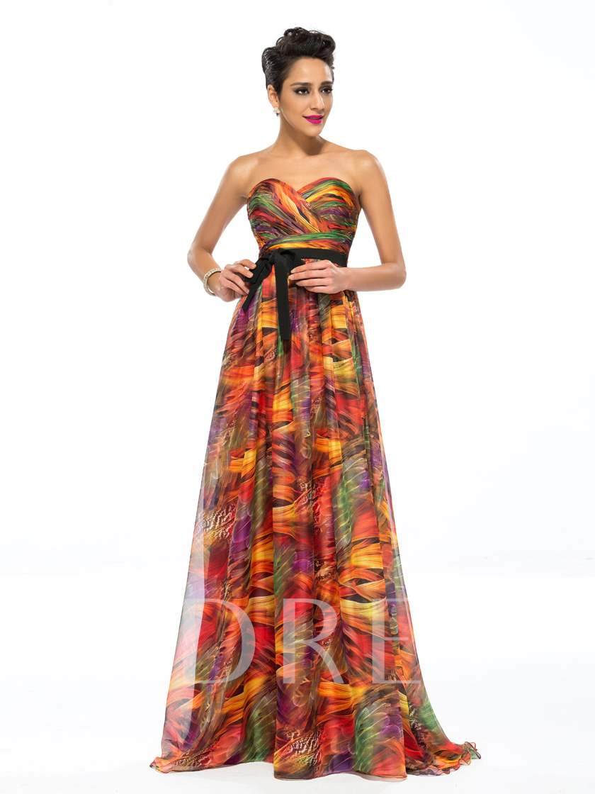A-Line Sweetheart Printing Evening Dress