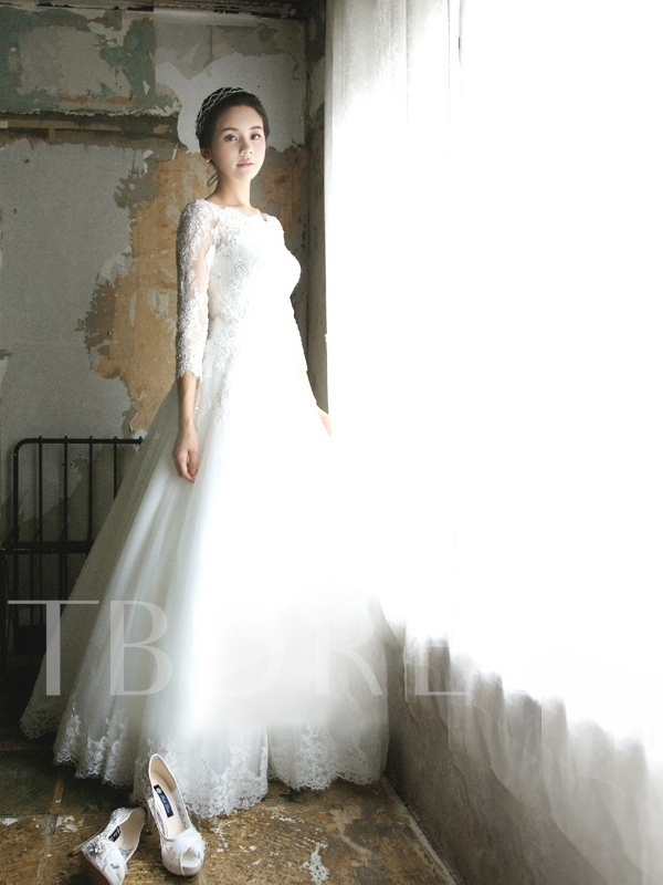 Bateau Neck 3/4 Length Sleeves Appliques Wedding Dress