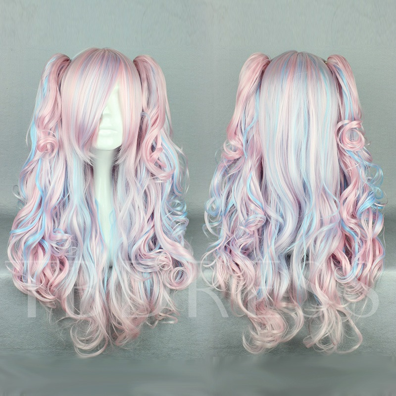 New Arrival Long Pink Deep Wave Mixed Color Cosplay Wig Halloween 26 Inches