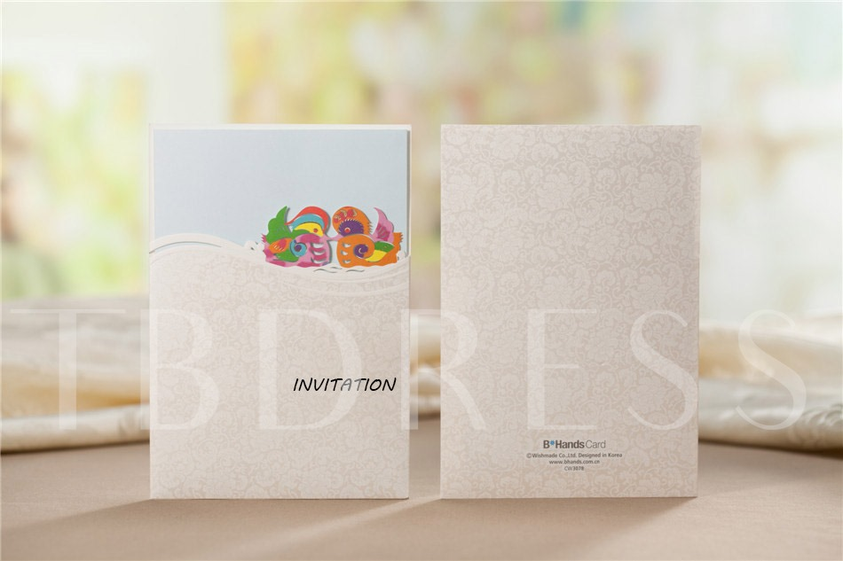 Wedding Invitation With Mandarin Duck (20 Pieces One Set)