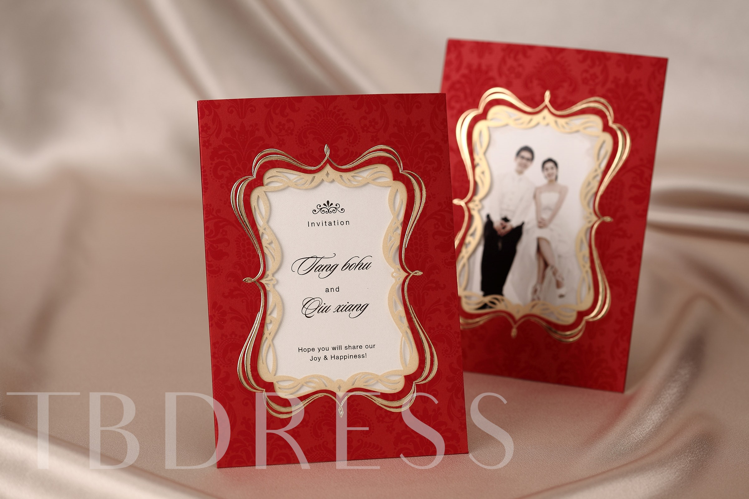Bride & Groom Style Side Fold Invitation Cards (20 Pieces One Set)