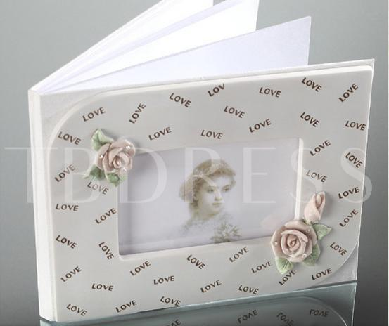 Rose Design Resin Po Cover Wedding Guestbook