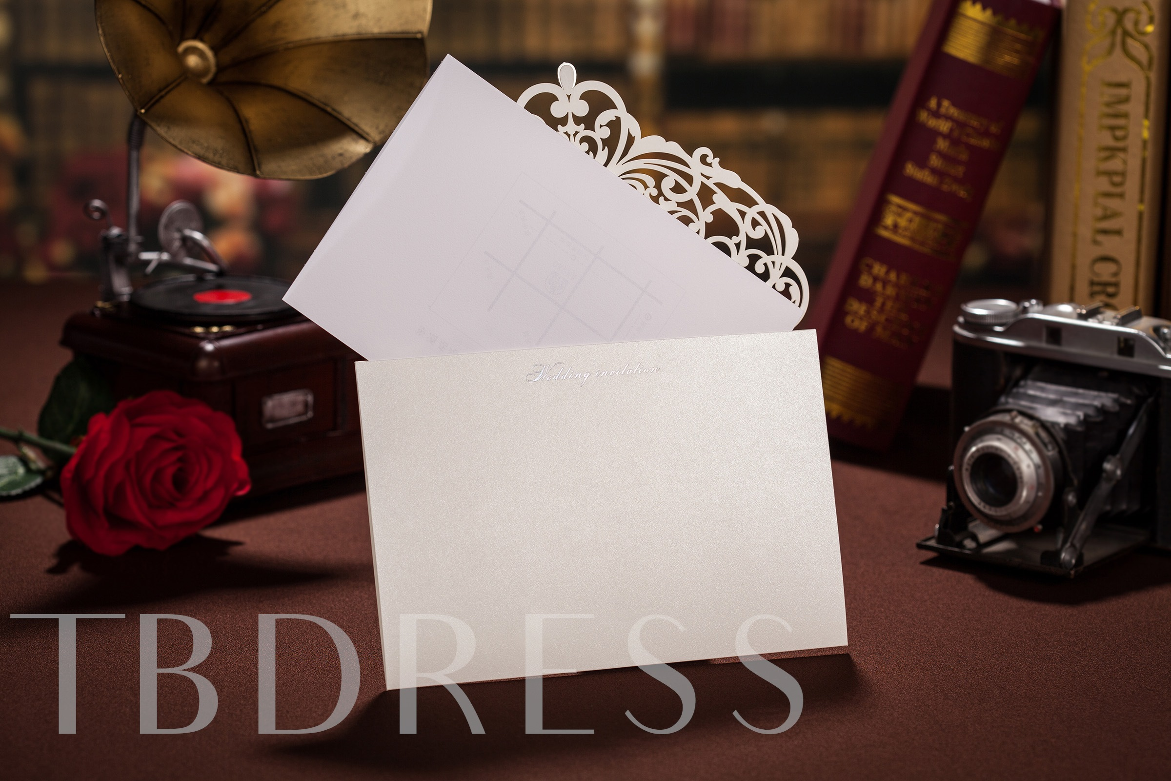 Floral Style Side Fold Invitation Cards (20 Pieces One Set)