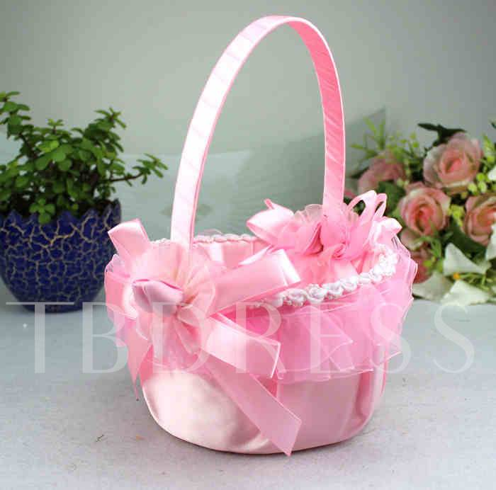 Flower Basket in Satin & Lace With Bow