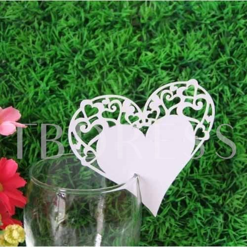 Heart Shape Design Wine Glass Card (Set of 12 )