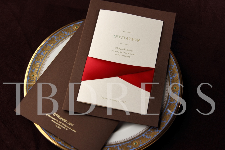 Flat Card Wedding Invitation Cards With Red Ribbons (20 Pieces One Set)