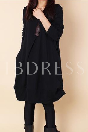 Buy Plain Round Neck Asymmetrical Women's Day Dress, Maroths, Spring,Fall, 11617205 for $18.99 in TBDress store