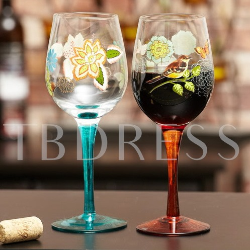 Hand-Drawn Glass Toasting Flutes(Set of 2)