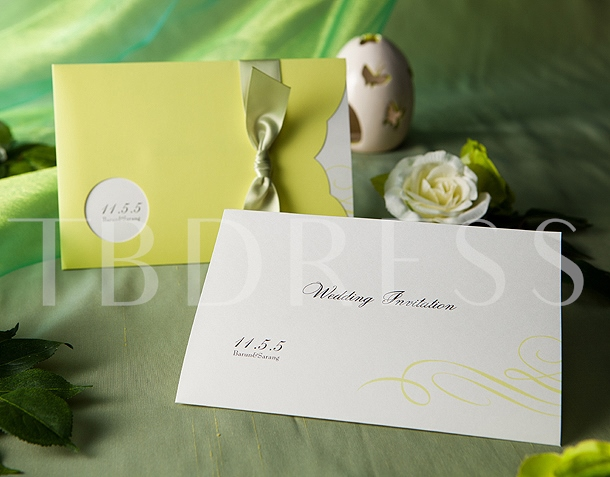 Wrap & Pocket Invitation Cards With Bowknot (20 Pieces One Set)