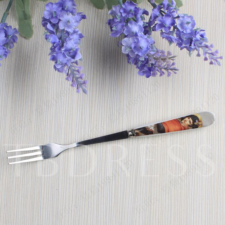Novel Korean Style Stainless Steel Fruit Salad Folk