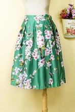 Floral Print Pleated A-Line Women's Skirt