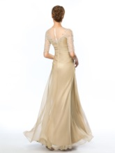 Jewel Neck Appliques Beading Half Sleeves Evening Dress