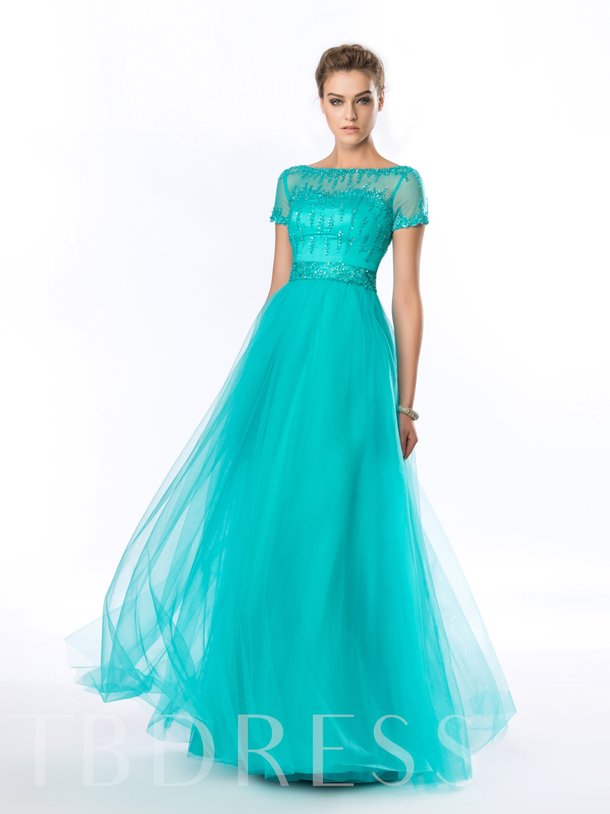 Image of A-Line Bateau Beading Short Sleeves Evening Dress