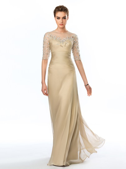 Sheer Appliques Beadings Floor-Length Evening Dress