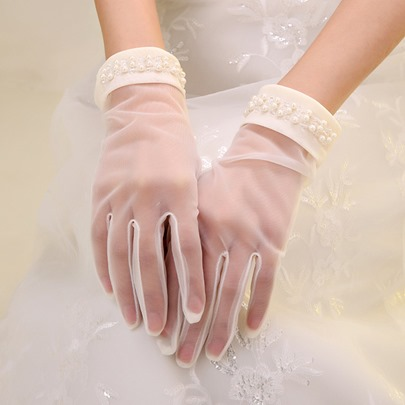 Pearls Short Wedding Gloves
