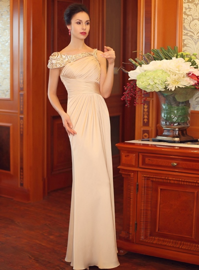 Off-the-Shoulder Sheath Sequins Floor-Length Evening Dress