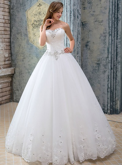 A-Line Strapless Beading Lace-Up Wedding Dress