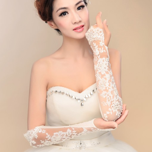 Beaded Appliques Fingerless Wedding Gloves