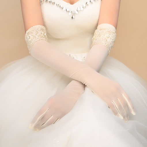 Beaded Lace Edge Ivory Long Sleeve Wedding Gloves
