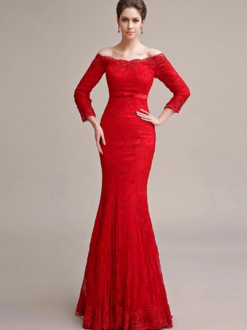 Mermaid Off-the-Shoulder Lace Appliques Evening Dress