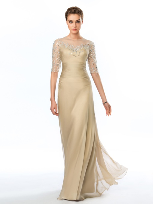 Sheath Jewel Appliques Beadings Floor-Length Evening Dress
